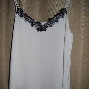 Aritzia Babaton white tank with black lace